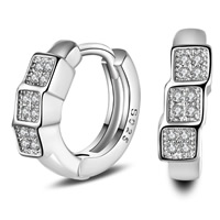 Cubic Zirconia Micro Pave Brass Earring, real silver plated, with 925 logo & micro pave cubic zirconia, lead & cadmium free, 15x4mm, Sold By Pair