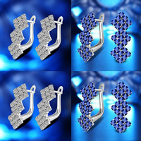 Cubic Zirconia Micro Pave Brass Earring, plated, with 925 logo & micro pave cubic zirconia, more colors for choice, lead & cadmium free, 8x20mm, Sold By Pair