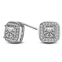 Cubic Zircon Brass Earring, Square, real silver plated, with 925 logo & with cubic zirconia, lead & cadmium free, 9x9mm, Sold By Pair