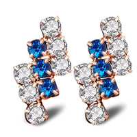 Cubic Zircon Brass Earring, 18K gold plated, with 925 logo & with cubic zirconia, lead & cadmium free, 9x21mm, Sold By Pair