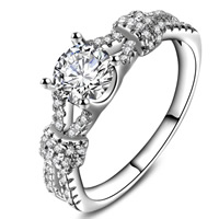 Cubic Zirconia Micro Pave Brass Finger Ring, real silver plated, with 925 logo & different size for choice & micro pave cubic zirconia & for woman, lead & cadmium free, 22x6mm, Sold By PC