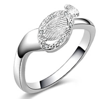 Cubic Zirconia Micro Pave Brass Finger Ring, Flat Oval, real silver plated, with 925 logo & micro pave cubic zirconia & for woman, lead & cadmium free, 7mm, US Ring Size:8, Sold By PC