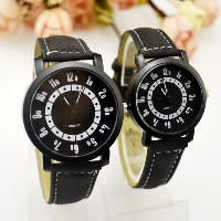 Unisex Wrist Watch, Zinc Alloy, with PU & Glass, Chinese movement, plumbum black color plated, different size for choice, Sold By PC