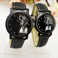 Unisex Wrist Watch, Zinc Alloy, with PU & Glass, Chinese movement, plumbum black color plated, different size for choice & with rhinestone, Sold By PC