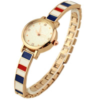 Fashion Watch Bracelet, Zinc Alloy, with Glass, Chinese movement, plated, for woman & enamel & with rhinestone, 8x25mm, Length:Approx 7.4 Inch, Sold By Strand