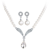 Wedding Jewelry Set, Glass Pearl, bracelet & earring & necklace, with Crystal & Zinc Alloy, brass post pin, with 1.9lnch extender chain, Teardrop, platinum color plated, for bridal & with rhinestone, 20mm,30mm, Length:Approx 18.8.2 Inch, Approx 7 Inch, Sold By Set