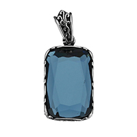 Crystal Jewelry Pendants, Stainless Steel, with Crystal, Rectangle, faceted & blacken, 16x30x6mm, Hole:Approx 4x8mm, Sold By PC