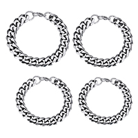 Men Bracelet, Stainless Steel, different size for choice & curb chain & for man & blacken, Length:Approx 9 Inch, Sold By Strand