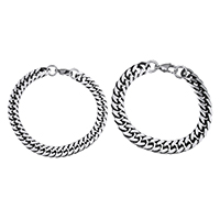 Men Bracelet, Stainless Steel, different size for choice & curb chain & for man & blacken, Sold By Strand