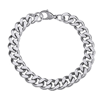 Men Bracelet, Stainless Steel, curb chain & for man, original color, 13x11x3mm, Length:Approx 9 Inch, Sold By Strand