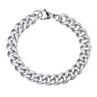 Men Bracelet, Stainless Steel, curb chain & for man, original color, 14x11x3mm, Length:Approx 9 Inch, Sold By Strand