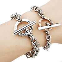 Couple Bracelet, Stainless Steel, Donut, plated, different size for choice & with letter pattern & for couple & with rhinestone, Sold By Strand