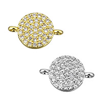 Cubic Zirconia Micro Pave Brass Connector, Flat Round, plated, micro pave cubic zirconia & 1/1 loop, more colors for choice, 14x9x3mm, Hole:Approx 1mm, Sold By PC