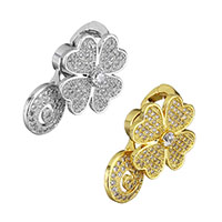 Cubic Zirconia Micro Pave Brass Pendant, Four Leaf Clover, plated, micro pave cubic zirconia, more colors for choice, 17x27x13mm, Hole:Approx 6.5x5mm, Sold By PC