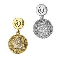 Cubic Zirconia Micro Pave Brass Pendant, Round, plated, micro pave cubic zirconia, more colors for choice, 14x18x14mm, 27mm, Hole:Approx 1.8mm, Sold By PC