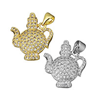 Cubic Zirconia Micro Pave Brass Pendant, Teapot, plated, micro pave cubic zirconia, more colors for choice, 17x20.5x3.5mm, Hole:Approx 3.4x4mm, Sold By PC