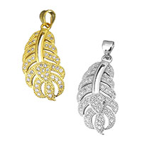 Cubic Zirconia Micro Pave Brass Pendant, Leaf, plated, micro pave cubic zirconia, more colors for choice, 13x27x2mm, Hole:Approx 3.5x4mm, Sold By PC