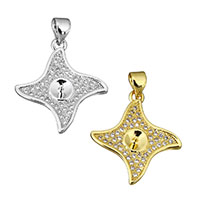 Cubic Zirconia Micro Pave Brass Pendant, plated, micro pave cubic zirconia, more colors for choice, 20x22x2.5mm, 0.7mm, Hole:Approx 3.5x4mm, Sold By PC