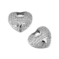 Cubic Zirconia Micro Pave Brass Pendant, Heart, platinum plated, micro pave cubic zirconia & hollow, 15.5x13x8mm, Hole:Approx 1.2x1.5mm, Sold By PC