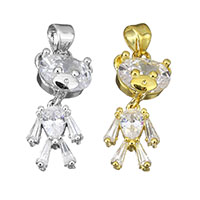 Cubic Zirconia Micro Pave Brass Pendant, Bear, plated, with cubic zirconia, more colors for choice, 10x22x5mm, Hole:Approx 3.5x4mm, Sold By PC