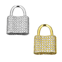 Cubic Zirconia Micro Pave Brass Pendant, Lock, plated, micro pave cubic zirconia & hollow, more colors for choice, 12x17x4mm, Hole:Approx 5.6x6mm, Sold By PC