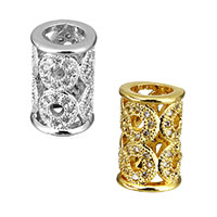 Cubic Zirconia Micro Pave Brass European Bead, Column, plated, micro pave cubic zirconia & without troll & hollow, more colors for choice, 12x8x8mm, Hole:Approx 5mm, Sold By PC