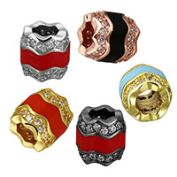 Cubic Zirconia Micro Pave Brass European Bead, Column, plated, micro pave cubic zirconia & without troll & enamel, more colors for choice, 10x10x10mm, Hole:Approx 5mm, Sold By PC