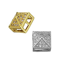 Cubic Zirconia Micro Pave Brass Beads, Square, plated, multihole & micro pave cubic zirconia, more colors for choice, 8x8x6mm, Hole:Approx 2x1.5mm, Sold By PC