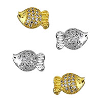 Cubic Zirconia Micro Pave Brass Beads, Fish, plated, micro pave cubic zirconia, more colors for choice, 10x7x5.5mm, Hole:Approx 1mm, Sold By PC