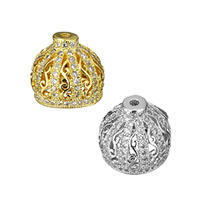 Cubic Zirconia Micro Pave Brass Beads, Dome, plated, micro pave cubic zirconia & hollow, more colors for choice, 11.5x10.5x11.5mm, Hole:Approx 1mm, Sold By PC