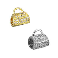 Cubic Zirconia Micro Pave Brass Beads, plated, micro pave cubic zirconia & hollow, more colors for choice, 9x10x7mm, Hole:Approx 4x2mm, 4mm, Sold By PC