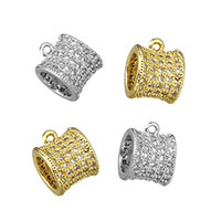 Cubic Zirconia Micro Pave Brass Beads, Drum, plated, micro pave cubic zirconia, more colors for choice, 7.5x10x8.5mm, Hole:Approx 1mm, 5mm, Sold By PC