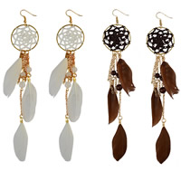 Fashion Feather Earring , Zinc Alloy, with Lace & Feather & Resin, brass earring hook, gold color plated, Bohemian style & for woman, more colors for choice, 180mm, Sold By Pair