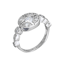 Cubic Zirconia Micro Pave Sterling Silver Finger Ring, 925 Sterling Silver, Flat Round, micro pave cubic zirconia & for woman, 11x10x3.5mm, US Ring Size:6, Sold By PC