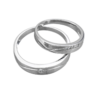 925 Sterling Silver Couple Ring, different styles for choice & micro pave cubic zirconia & for couple, Sold By Pair