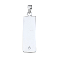 Cubic Zirconia Micro Pave Sterling Silver Pendant, 925 Sterling Silver, Rectangle, micro pave cubic zirconia, 8x26x1mm, Hole:Approx 3x4mm, Sold By PC