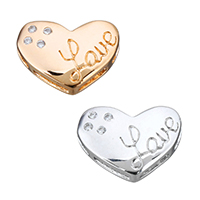 Sterling Silver Beads, 925 Sterling Silver, Heart, word love, plated, with letter pattern, more colors for choice, 15.5x11.5x4mm, Hole:Approx 1.5x5mm, Sold By PC