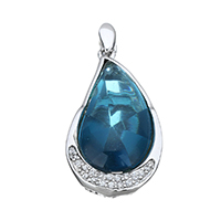 Cubic Zirconia Micro Pave Sterling Silver Pendant, 925 Sterling Silver, Teardrop, micro pave cubic zirconia, 16x31.5x9mm, Hole:Approx 2x4mm, Sold By PC
