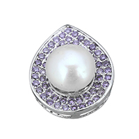 Cubic Zirconia Micro Pave Sterling Silver Bead, 925 Sterling Silver, with Freshwater Pearl, Teardrop, natural, micro pave cubic zirconia, 17.5x22x10mm, Hole:Approx 7.5x1.5mm, Sold By PC