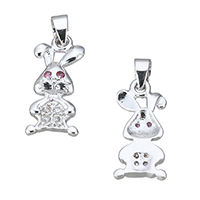 Cubic Zirconia Micro Pave Sterling Silver Pendant, 925 Sterling Silver, Rabbit, micro pave cubic zirconia, 7.5x16.5x2mm, Hole:Approx 3x3.5mm, Sold By PC