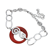 Cubic Zirconia Micro Pave Sterling Silver Bracelet, 925 Sterling Silver, with Red Agate, with 2.5lnch extender chain, Donut, natural, micro pave cubic zirconia & for woman & hollow, 36x26x7.5mm, Length:Approx 6 Inch, Sold By Strand