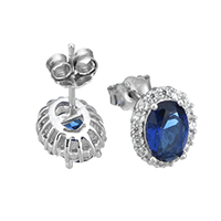 Cubic Zirconia Micro Pave Sterling Silver Earring, 925 Sterling Silver, micro pave cubic zirconia, 8x10x16mm, Sold By Pair