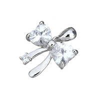 Cubic Zirconia Sterling Silver Pendants, 925 Sterling Silver, Bowknot, with cubic zirconia, 13x13.5x3.5mm, Hole:Approx 3x4mm, Sold By PC