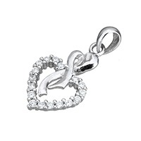 Cubic Zirconia Micro Pave Sterling Silver Pendant, 925 Sterling Silver, Heart, micro pave cubic zirconia, 12x20x2.5mm, Hole:Approx 3x4mm, Sold By PC