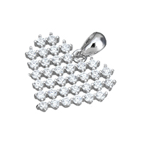 Cubic Zirconia Micro Pave Sterling Silver Pendant, 925 Sterling Silver, Heart, micro pave cubic zirconia & hollow, 16x13.5x2mm, Hole:Approx 3x4mm, Sold By PC