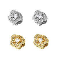 Cubic Zirconia Micro Pave Brass Beads, Star, plated, micro pave cubic zirconia & hollow, more colors for choice, 9x8x5.5mm, Hole:Approx 2x5mm, Sold By PC