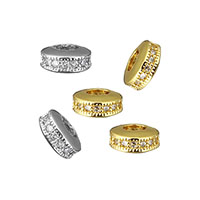 Cubic Zirconia Micro Pave Brass Beads, Flat Round, plated, micro pave cubic zirconia, more colors for choice, 7x3.5x7mm, Hole:Approx 3.5mm, Sold By PC