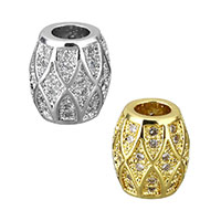 Cubic Zirconia Micro Pave Brass Beads, Oval, plated, micro pave cubic zirconia, more colors for choice, 9x8x8mm, Hole:Approx 3.5mm, Sold By PC