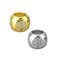 Cubic Zirconia Micro Pave Brass European Bead, Rondelle, plated, micro pave cubic zirconia & without troll, more colors for choice, 6x8x8mm, Hole:Approx 4.5mm, Sold By PC