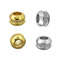 Cubic Zirconia Micro Pave Brass Beads, plated, micro pave cubic zirconia, more colors for choice, 5x7x7mm, Hole:Approx 3mm, Sold By PC